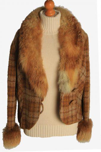 Womens Coat Fur Collar Designer Vintage Size M Brown C2327-156912