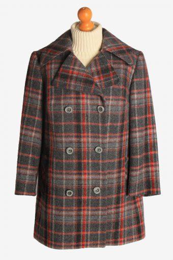 Womens Coat Windowpane Designer Vintage Size XL Multi C2328