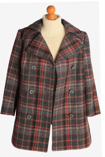 Womens Coat Windowpane Designer Vintage Size XL Multi C2328-156917
