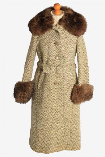 Womens Overcoat Fur Collar And Cuff Designer Vintage Size M Multi C2329