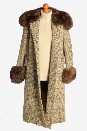 Womens Overcoat Fur Collar And Cuff Designer Vintage Size M Multi C2329-156922