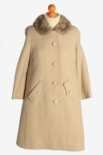 Womens Overcoat Fur Collar Designer Vintage Size L Beige C2330