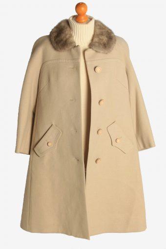 Womens Overcoat Fur Collar Designer Vintage Size L Beige C2330-156927