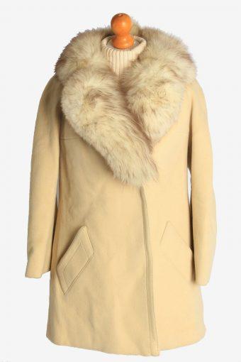 Womens Overcoat Fur Collar Designer Vintage Size L Beige C2331