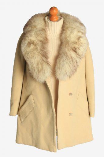 Womens Overcoat Fur Collar Designer Vintage Size L Beige C2331-156932