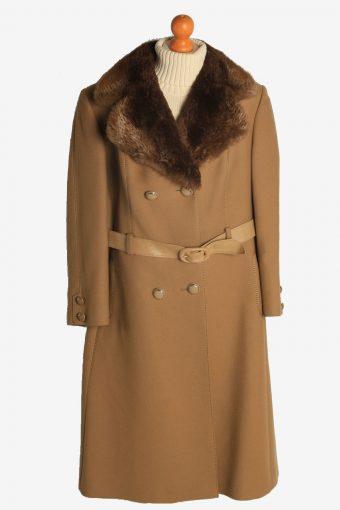Womens Overcoat Fur Collar Designer Vintage Size L Coffee C2332
