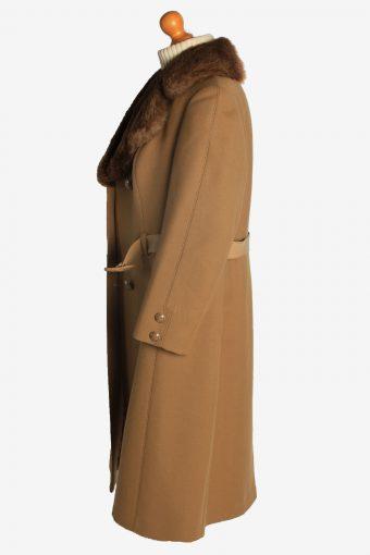 Womens Overcoat Fur Collar Designer Vintage Size L Coffee C2332-156937