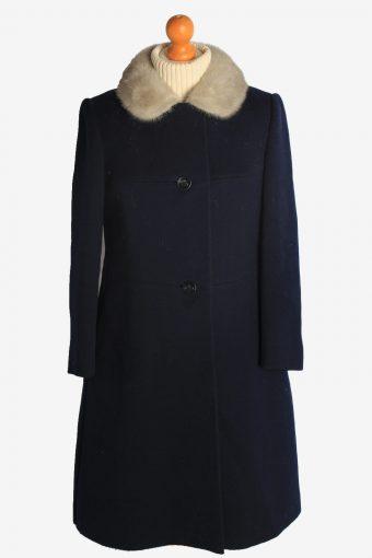 Womens Overcoat Fur Collar Designer Vintage Size S Navy C2333
