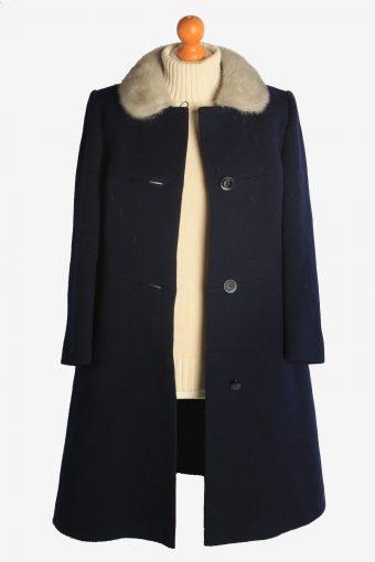 Womens Overcoat Fur Collar Designer Vintage Size S Navy C2333-156942