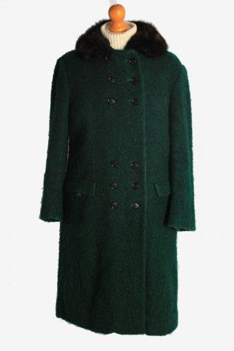 Womens Overcoat Fur Collar Designer Vintage Size M Dark Green C2334
