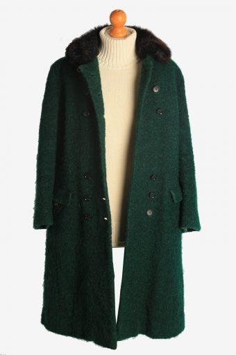 Womens Overcoat Fur Collar Designer Vintage Size M Dark Green C2334-156947