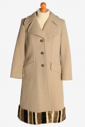 Womens Overcoat Fur Designer Long Cardigan  Vintage Size M Beige C2335
