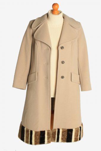 Womens Overcoat Fur Designer Long Cardigan Vintage Size M Beige C2335-156952