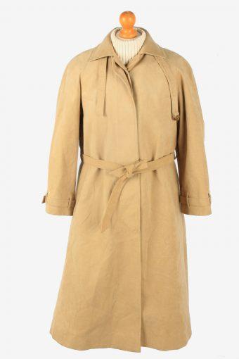 Womens Suede Overcoat Designer Vintage Size L Coffee C2336
