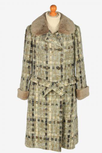 Womens Coat Faux Fur Neck Designer Vintage Size M Multi C2339