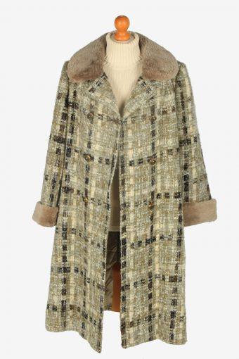 Womens Coat Faux Fur Neck Designer Vintage Size M Multi C2339-157060