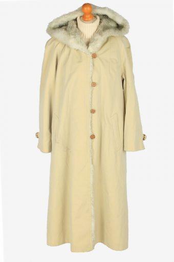 Womens Coat Fur Hoodies Designer Vintage Size XL Beige C2340