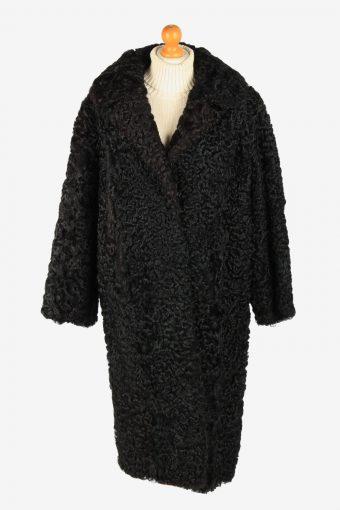 Womens Natural Real Fur Coat  Elagant  Vintage Size XL Black C2609