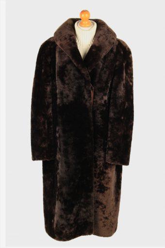 Womens Real Fur Coat Luxury  Gorgeous Vintage Size XL Dark Brown C2610