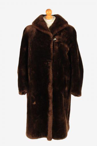 Womens Luxury Gorgeous Real Fur Long Coat Elegant Vintage Size M Dark Brown C2611