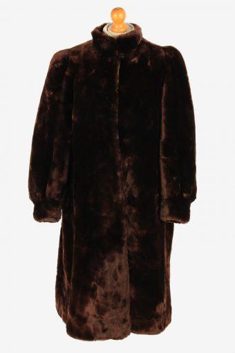 Womens Real Fur Long Coat Fluffy  Luxury Vintage Size M Dark Brown C2612
