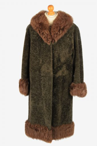 Womens Fluffy Real Fur Coat Gorgeous Vintage Size L Dark Brown C2613-158751