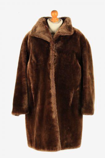 Womens Fluffy Real Fur Coat Luxury Elagant  Vintage Size XL Dark Brown C2614