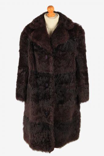 Womens Fluffy Luxury Real Fur Coat Genuine Vintage Size XL Maroon C2615-158761