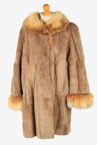 Womens Lightweight Fur Coat Elagant Vintage Size XXL Light Brown C2617-158771