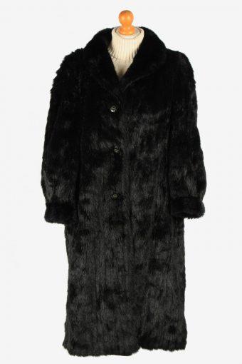 Womens Wonderfull Lightweight Fur Coat Gorgeous  Luxury Vintage Size XL Black C2618