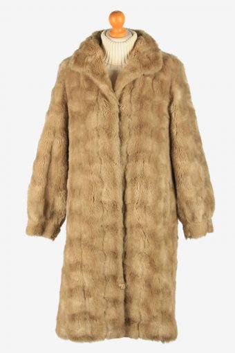 Womens Lightweight Fur Long Coat Fluffy Luxury Vintage Size S Coffee C2619-158781