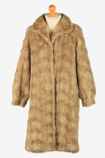 Womens Lightweight Fur Long Coat Fluffy  Luxury Vintage Size S Coffee C2619