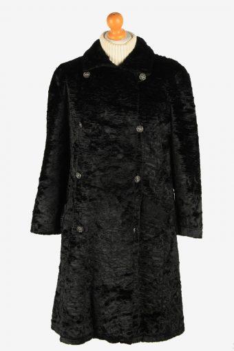 Womens Luxur Lightweight  Fur Long Coat Elagant  Vintage Size L Black C2620