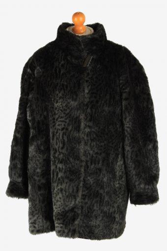 Womens Leopard Pattern Lightweight Fur Coat  Luxury Vintage Size XL Dark Grey C2621