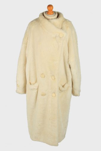 Womens Fluffy Luxury Lightweight Fur Long Coat  Gorgeous Vintage Size XXL Beige C2622