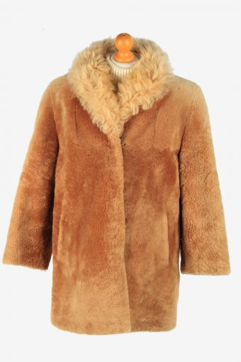 Womens Natural Teaddy Bear Icon Fur Coat Elagant  Vintage Size L Coffee C2623