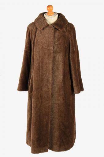 Womens Elagant Lamahaar Fur Long Coat Genuine Vintage Size XL Dark Brown C2624