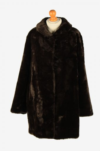 Womens Luxury Lightweight Teaddy Bear Icon Fur Coat Elagant Vintage Size XL Dark Brown C2626-158816