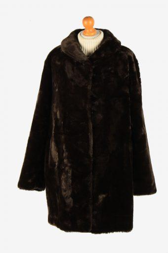Womens Luxury Lightweight Teaddy Bear Icon Fur Coat Elagant  Vintage Size XL Dark Brown C2626