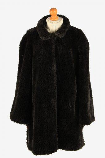 Womens Wonderfull Lightweight Fur Coat Gorgeous  Luxury Vintage Size XXL Black C2627