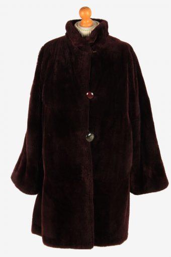 Womens Fluffy Teddy Bear Icon Fur Coat Gorgeous Vintage Size XL Maroon C2628-158826