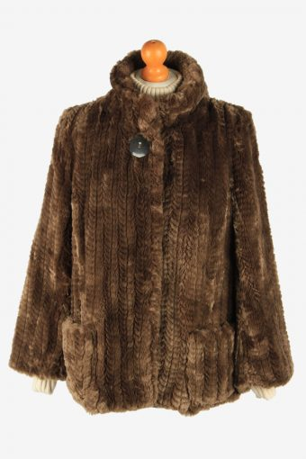 Womens Elagant Teddy Bear Icon Fur Long Coat Genuine Vintage Size M Brown C2631