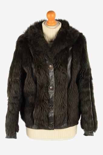 Womens Fluffy Luxury Lightweight Fur Coat Gorgeous Vintage Size S Dark Brown C2632-158846