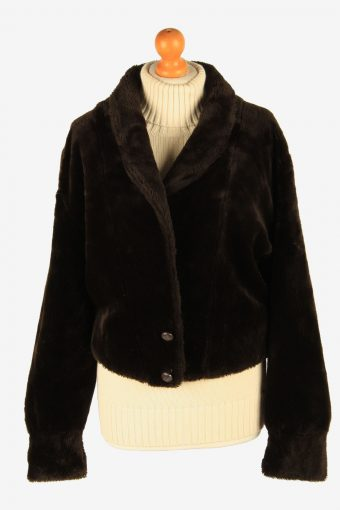 Womens Wonderfull Luxury Teddy Bear Icon Fur Coat Elagant Vintage Size S Dark Chocolate C2633-158851