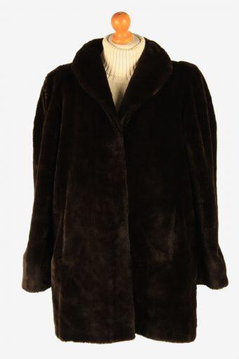 Womens Luxury Teddy Bear Icon Real Fur Coar Lightweight Vintage Size L Dark Chocolate C2635