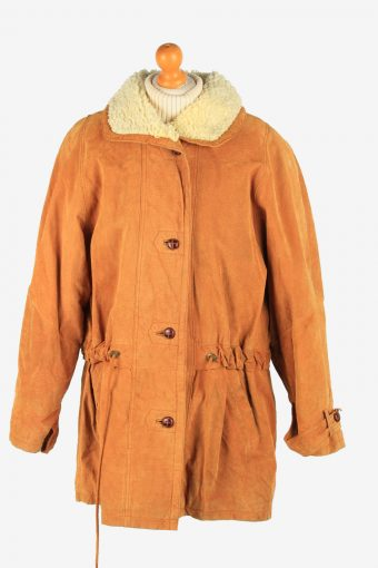 Womens Real Suede Coat Shearling Vintage Size XL Coffee C2637-158871
