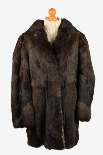Fur Coat Jacket Button Lined Ladies Vintage Size XL Dark Brown C2286