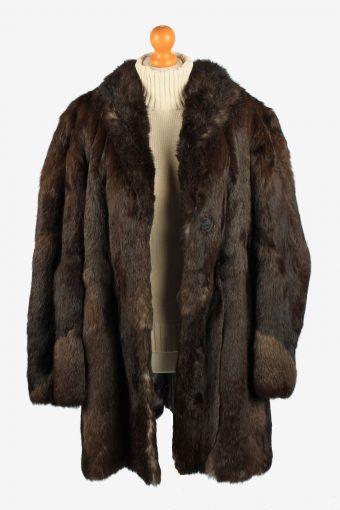 Fur Coat Jacket Button Lined Ladies Vintage Size XL Dark Brown C2286-155520