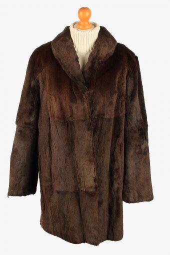 Fur Coat Jacket Petite Mademoiselle Womens Vintage Size M Dark Brown C2287