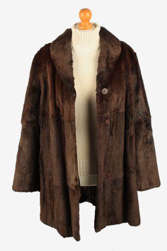 Fur Coat Jacket Petite Mademoiselle Womens Vintage Size M Dark Brown C2287-155525